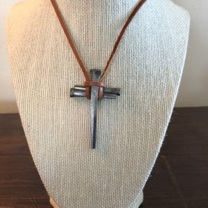 Jewelry - Silver nail Cross Necklace with leather strap